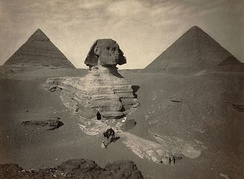 The Great Sphinx partially excavated, photo taken between 1867 and 1899